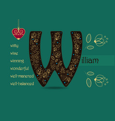 Name day greeting card with flowers and letter w vector