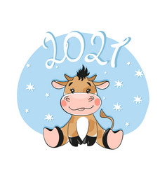 new year and christmas 2021 card with a bull vector image