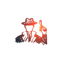 observe glass gun person detective concept vector image
