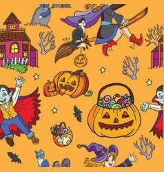 orange seamless pattern with cartoon halloween vector image