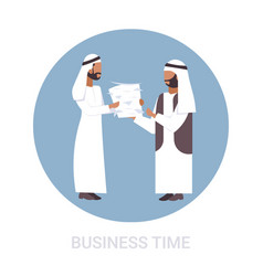 overworked arab businessman carrying paper vector image