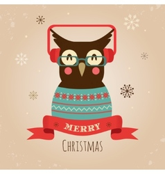 Owl Merry Christmas Card vector image
