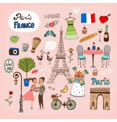 Paris France landmarks and icons vector image