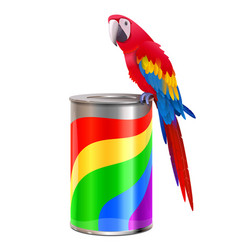 Parrot with paint can vector