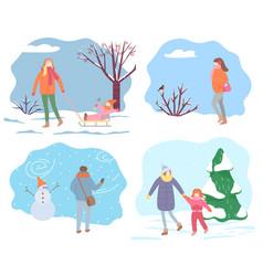 people walking in park in winter outdoor activity vector image