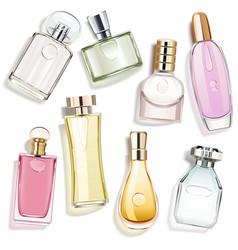 Perfume glass bottles vector