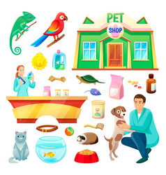 Pet shop with animals and products vector