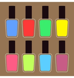 Pink blue violet green yellow nail polish varnish vector