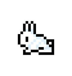 Pixelated Bunny 8 bit Pixel Art - Isolated vector image
