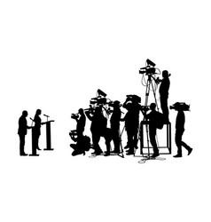 Public speaker against tv camera crew silhouette vector