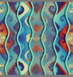 Relief waves of ornamental mosaic tile patterns vector