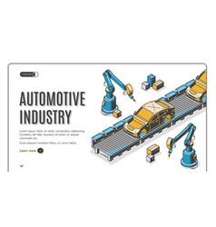 Robots hands assemble car on conveyor belt process vector