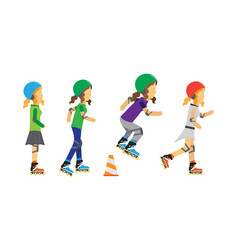 roller skater girls in flat design vector image