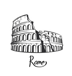 Rome colosseum black white vector