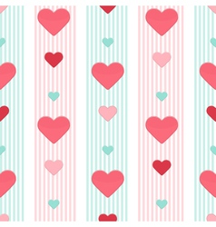 seamless heart pink blue stripped pattern vector image