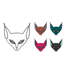 set of five muzzle of a cat-sphinx vector image