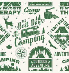 Set outdoor adventure seamless pattern vector