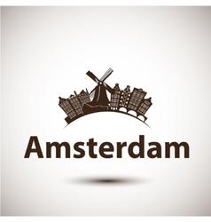 Silhouette amsterdam city skyline vector