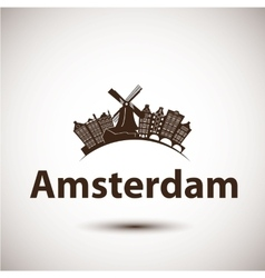 Silhouette of Amsterdam City skyline vector