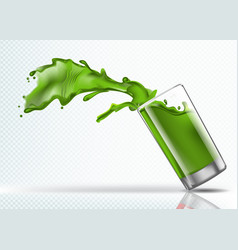 splash of kiwi juice from falling glass vector image