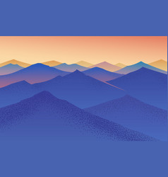 Sunset in mountains layered landscape fog vector
