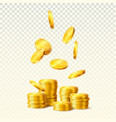 tower or stack of golden dollar coins vector image
