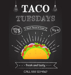 Traditional mexican fastfood taco tuesday poster vector