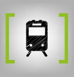 Train sign black scribble icon in citron vector