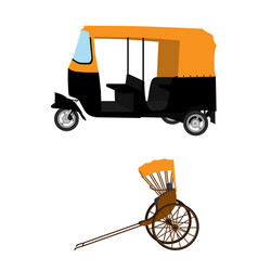 Tuk-tuk and hand pulled rickshaw vector