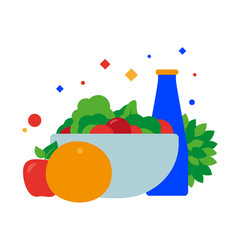 vegan food plate bowl full of vegetables vector image