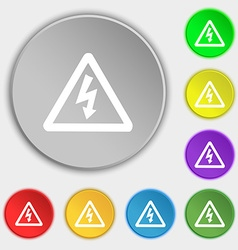 voltage icon sign Symbol on five flat buttons vector image