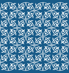 White and blue seamless abstract floral pattern vector