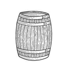 wine beer barrel sketch engraving vector image