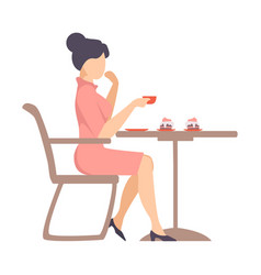 Woman in a pink dress is drinking coffee at a vector