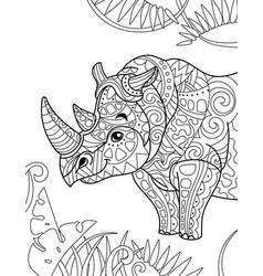 zentangle stylized cartoon rhino rhinoceros vector image