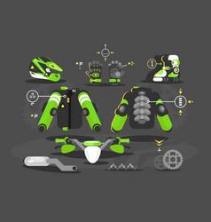 set of equipment for moto cross vector image