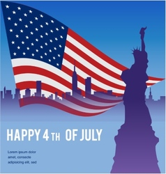 American flag with the Statue of Liberty and NY vector image