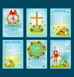 easter holiday traditions poster template set vector image vector image