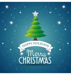 happy holidays merry christmas tree star label vector image