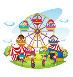 happy kids riding on ferris wheel vector image vector image