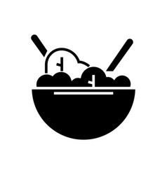 salad bowl eco icon black vector image