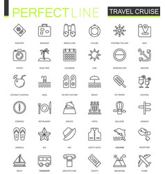 travel cruise thin line web icons set outline vector image vector image