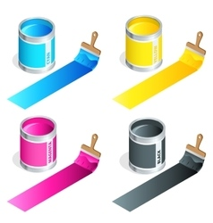 Bottles of ink in cmyk colors and paint brush on vector image vector image