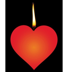 Candle in the form of heart vector image