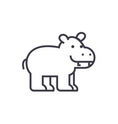 cute hippo line icon sign on vector image vector image