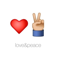 Love and peace icons vector image