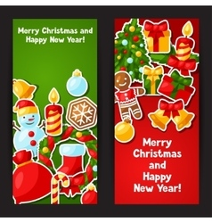 Merry Christmas and Happy New Year sticker banners vector image