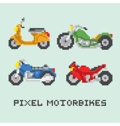 Pixel art style motorbike isolated set vector image vector image