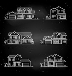 set of thin line icon suburban american vector image
