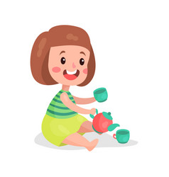 sweet little girl sitting on the floor playing vector image vector image